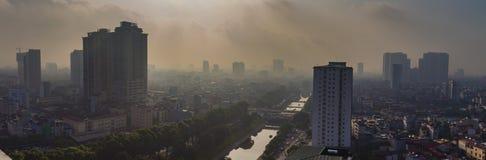 De mening van Hanoi van de hemel in ochtend Royalty-vrije Stock Afbeeldingen