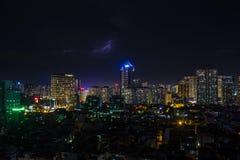 De mening van Hanoi van de 's nachts hemel Stock Foto