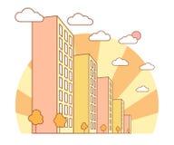 De mening van de de herfststad met hoge gebouwen, wolken, oranje bomen, dalingslandschap met straatblokken, moderne woon en stock illustratie