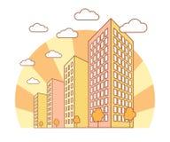 De mening van de de herfststad met hoge gebouwen, wolken, oranje bomen, dalingslandschap met straatblokken, moderne woon en royalty-vrije illustratie