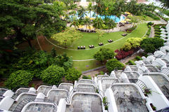 De mening van het balkon, tropische toevlucht Stock Foto