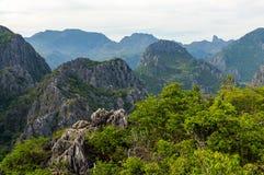De mening van het bergketenlandschap van Khao Dang Viewpoint, Sam Roi Yod National-park, de Provincie van Phra Chaup Khi Ri Khun  Royalty-vrije Stock Foto