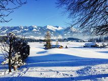 De mening van het de winterlandschap over de alpen, sneeuwdiebergen, aard met sneeuw bij de winterzonsondergang wordt behandeld S Royalty-vrije Stock Fotografie