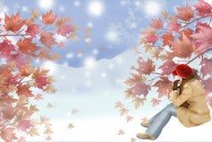 De mening van het de winterlandschap vanaf de bergbovenkant - Grafische het schilderen textuur Royalty-vrije Stock Fotografie