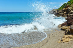 De mening van het de zomerstrand (Griekenland, Lefkada) Stock Fotografie