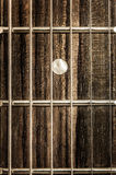 De mening van het detailclose-up van gitaarkoorden en lijstwerken royalty-vrije stock fotografie