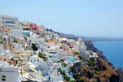 De mening van het eilandfira van Santorini Stock Afbeeldingen