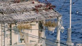 De mening van het huis met een met stro bedekt dak en shuttered venster Een huis in de bespattende golven als achtergrond Het hui stock videobeelden