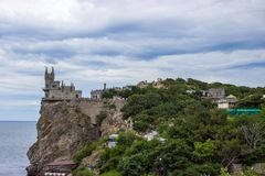 De mening van het kasteel ` slikt het Nest `, Yalta, de Krim van ` s royalty-vrije stock fotografie