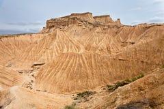 De mening van het landschap van Bardenas Reales, Navarra, Spanje royalty-vrije stock afbeeldingen