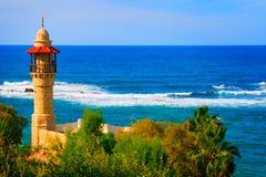 De mening van het landschap van de kustlijn van Tel Aviv, Israël Stock Foto