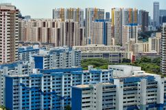De mening van het landschap van het Landgoed van de Huisvesting van Singapore Stock Fotografie