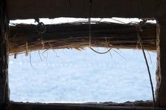 De mening van het meer van Macedonisch blokhuis Stock Foto's