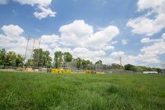 De mening van het nieuwe stadium bouwt voor de dag van de Wereldjeugd/Krakau 2016 stock fotografie