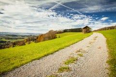 De mening van het panorama aan Zwitsers Plateau van Albis, Kanton Zürich Stock Foto