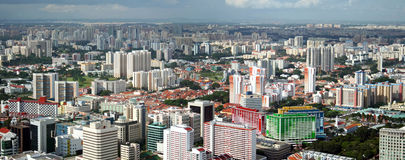De Mening van het panorama van de Stad van Singapore Stock Fotografie