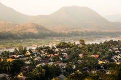 Mekong Rivier van Bovengenoemd - Luang Prabang, Laos Stock Foto's