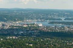 De mening van het panorama van Oslo royalty-vrije stock afbeeldingen