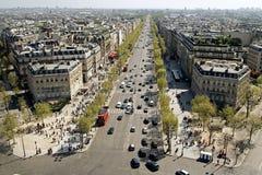 De Mening van het panorama van Parijs, champs-Ãlysées royalty-vrije stock afbeeldingen
