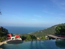 De mening van het paradijseiland van bovengenoemde berg Koh Samui Thailand Royalty-vrije Stock Foto's