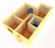 De mening van het perspectief van flatje met muren royalty-vrije illustratie