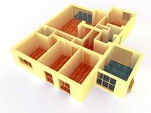 De mening van het perspectief van grote flat met muren stock illustratie