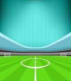 De mening van het stadionmiddenveld met gestreepte vector als achtergrond Royalty-vrije Stock Afbeeldingen