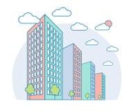 De mening van het de stadslandschap van Nice met hoge gebouwen, wolken, bomen, moderne woon en huurkazerne, lineaire overzichtsst royalty-vrije illustratie