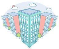 De mening van het de stadslandschap van Nice met hoge gebouwen, wolken, bomen, moderne woon en huurkazerne, lineaire overzichtsst stock illustratie