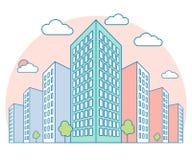 De mening van het de stadslandschap van Nice met hoge gebouwen, wolken, bomen op zonsondergang, moderne lineaire woon en huurkaze stock illustratie