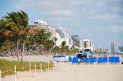 De mening van het strand van Voet Lauderdale, Florida Royalty-vrije Stock Afbeeldingen