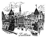 De mening van het tekeningslandschap van de Viru-Poort in de oude stad van Tallinn, Estland, schetst hand-drawn illustratie vector illustratie