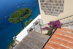 De mening van het terras, Capri, Italië Stock Afbeeldingen