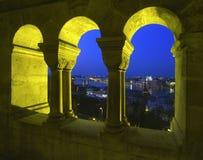 De mening van het vissers` s Bastion in Boedapest Royalty-vrije Stock Foto