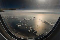 De mening van het vliegtuigvenster Royalty-vrije Stock Afbeeldingen