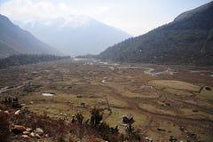 De mening van het vogel` s oog van Chopta-Vallei, Noord-Sikkim, India Stock Foto's