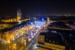 De mening van het vogel` s oog van nacht Zagreb Royalty-vrije Stock Afbeeldingen