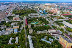 De mening van het vogeloog op stadskwarten Tyumen Rusland Royalty-vrije Stock Afbeelding
