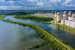 De mening van het vogeloog over Tura-buurt Tyumen Rusland Stock Afbeeldingen