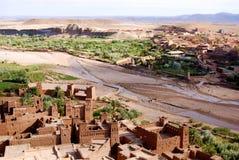 De Mening van het vogelsoog, Ait Ben Haddou, Marokko Royalty-vrije Stock Foto's