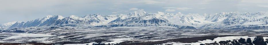 De mening van het zuiden bij het gebied van de Rand van de Regenboog in de Waaier van Alaska Stock Afbeeldingen