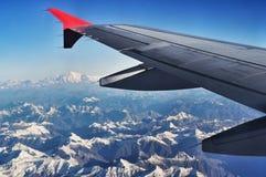 de mening van Himalayagebergte van vliegtuig Stock Foto's