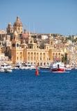 De mening van historische gebouwen van Birgu, Malta Stock Afbeeldingen