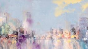 De mening van de horizonstad met de verschijning van kleurenwolken en bezinningen bij de wateranimatie royalty-vrije illustratie