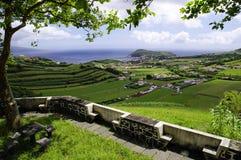 De mening van Horta Baai, Faial Royalty-vrije Stock Foto's