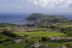 De mening van Horta Baai, Faial Stock Foto