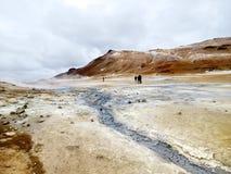 De mening van IJsland van het Geothermische Gebied 2017 van Hverir Stock Foto