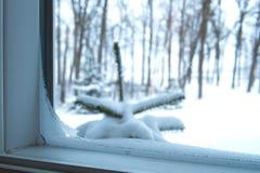 De mening van ijzig venster tijdens een koude dag stock foto's