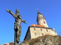 De mening van kasteel in Cesky Krumlov Stock Afbeelding