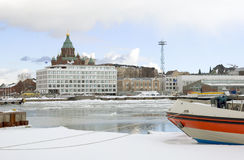 De mening van Katajanokka. Helsinki. Finland stock foto
